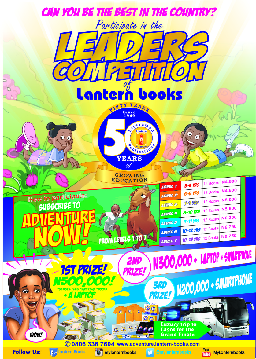Lantern Book Celebrating 50years of Growing Education Launches a Reader's Competition. The organisation set up a reader's competition where children are to read thereby giving a scholarship to any who reads up to 12 books under its stables within a given period. The competition, opened to children aged 5 to 13 (grouped into seven categories according to their ages). The winner would get N500,000 worth of scholarship, a laptop and smartphone; first runner up, N300,000, lap top and smartphone; and second runner up, N200,000 and smartphone. Hurry now for your School or Child… the grand finale will hold in Lagos in October 2019.
