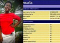 2020 WAEC: Miss Ogwubie Chikemzi Made A1 In A Her 9 Subjects