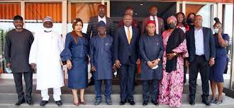 Senate Committee on Privatization, led by the Chairman, Senator T.A Orji (4th right) and Skyway Aviation Handling Company PLC (SAHCO) Management team led by Managing Director/CEO, Mr Basil Agboarumi (Middle) during an Oversight visit to SAHCO Headquarter in Lagos.
